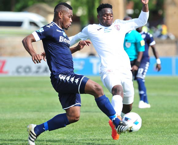 Thulani Hlatshwayo of Bidvest Wits challenged by Moeketsi Sekola of Free State Stars during the Telkom Knockout Last 16 match between Free State Stars and Bidvest Wits at the Goble Park Stadium in Free State on the 22 October 2016©Samuel Shivambu/Backpagepix