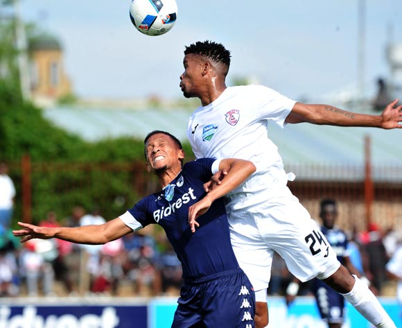 Daine Klate of Bidvest Wits challenged by Bokang Tlhone of Free State Stars during the Telkom Knockout Last 16 match between Free State Stars and Bidvest Wits at the Goble Park Stadium in Free State on the 22 October 2016©Samuel Shivambu/Backpagepix