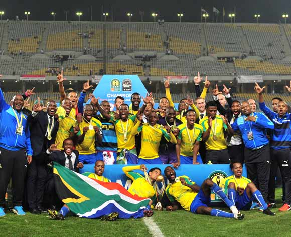 Mamelodi Sundowns celebrate with the trophy after winning the 2016 CAF Champions League Final 2nd leg between Zamalek and Mamelodi Sundowns at the El Borg Arab Stadium in Alexandria, Egypt on 23 October 2016 © Ryan Wilkisky/BackpagePix