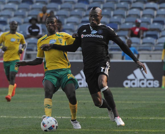 Tendai Ndoro of Orlando Pirates is challenged by Limbikani Mzava of Golden Arrows  during the Telkom Knockout Last 16 match between Orlando Pirates and Golden Arrows  on the  23 October 2016 at Orlando Stadium Pic Sydney Mahlangu/ BackpagePix