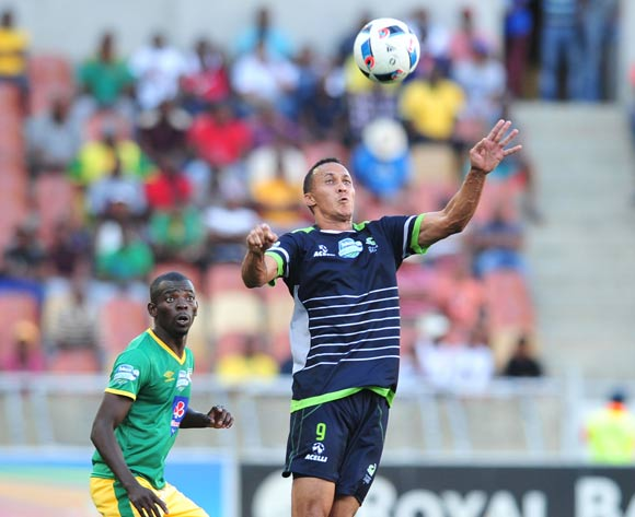 Henrico Botes of Platinum Stars challenged by Albert Mothupa Baroka FC during the Telkom Knockout Last 16 match between Baroka FC and Platinum Stars at the Peter Mokaba Stadium in Polokwane on the 23 October 2016©Samuel Shivambu/Backpagepix