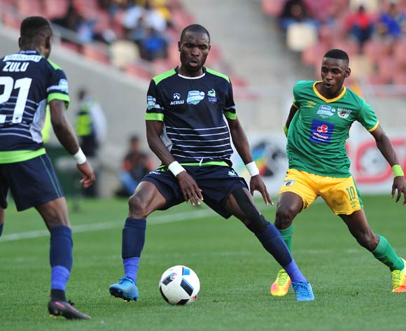 Robert Ngambi of Platinum Stars challenged by Collins Makgaka of Baroka FC during the Telkom Knockout Last 16 match between Baroka FC and Platinum Stars at the Peter Mokaba Stadium in Polokwane on the 23 October 2016©Samuel Shivambu/Backpagepix