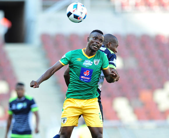 Sipho Moeti of Baroka FC challenged by Tintswalo Tshabalala of Platinum Stars during the Telkom Knockout Last 16 match between Baroka FC and Platinum Stars at the Peter Mokaba Stadium in Polokwane on the 23 October 2016©Samuel Shivambu/Backpagepix