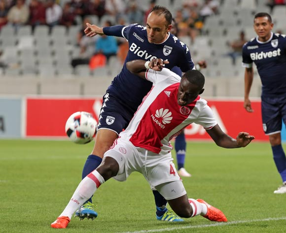 Erick Chipeta of Ajax Cape Town tackled by Eleazar Rodgers of Bidvest Wits during the Absa Premiership 2016/17 football match between Ajax Cape Town and Bidvest Wits at Cape Town Stadium, Cape Town on 26 October 2016 ©Chris Ricco/BackpagePix