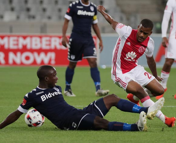 Erwin Isaacs of Ajax Cape Town tackled by Ben Motshwari of Bidvest Wits during the Absa Premiership 2016/17 football match between Ajax Cape Town and Bidvest Wits at Cape Town Stadium, Cape Town on 26 October 2016 ©Chris Ricco/BackpagePix