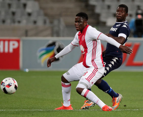 Ndiviwe Mdabuka of Ajax Cape Town evades challenge from Sifiso Myeni of Bidvest Wits during the Absa Premiership 2016/17 football match between Ajax Cape Town and Bidvest Wits at Cape Town Stadium, Cape Town on 26 October 2016 ©Chris Ricco/BackpagePix