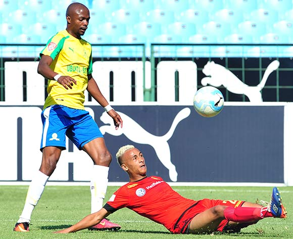 Tebogo Langerman of Mamelodi Sundowns tackled by Brandon Theron of Highlands Park during the Absa Premiership match between Mamelodi Sundowns and Highlands Park  at the Loftus Stadium in Pretoria on the 27 November 2016©Samuel Shivambu/Backpagepix