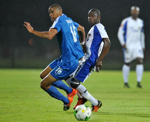 Mbulelo Wambi of Chippa United challenged by Bevan Fransman of Maritzburg United during the Absa Premiership 2016/17 match between Maritzburg United and Chippa United at Harry Gwala Stadium, Pietermaritzburg South Africa on 29 Nomvember 2016 ©Muzi Ntombela/BackpagePix