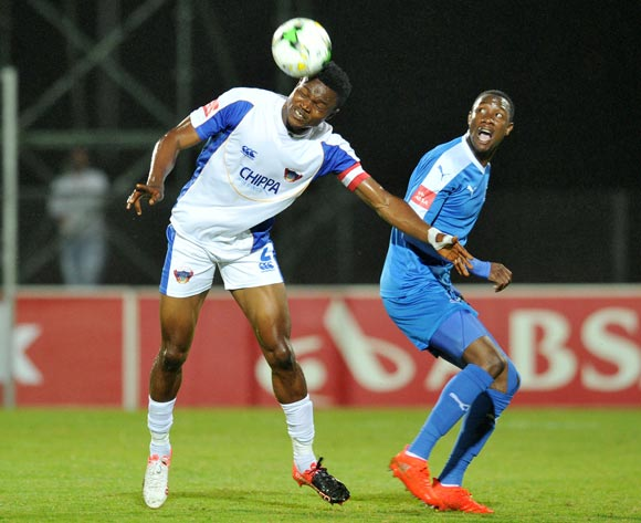 James Okwuosa of Chippa United challenged by Evans Rusike of Maritzburg United during the Absa Premiership 2016/17 match between Maritzburg United and Chippa United at Harry Gwala Stadium, Pietermaritzburg South Africa on 29 Nomvember 2016 ©Muzi Ntombela/BackpagePix