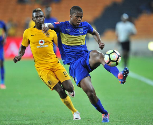 Tshepo Gumede of Cape Town City clears ahead of Michelle Katsvairo of Kaizer Chiefs during the Absa Premiership 2016/17 game between Kaizer Chiefs and Cape Town City at FNB Stadium, Johannesburg on 29 November 2016 © Ryan Wilkisky/BackpagePix
