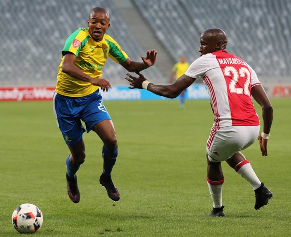 Thapelo Morena of Mamelodi Sundowns evades challenge from Mark Mayambela of Ajax Cape Town during the Absa Premiership 2016/17 football match between Ajax Cape Town and Mamelodi Sundowns at Cape Town Stadium, Cape Town on 30 November 2016 ©Chris Ricco/BackpagePix
