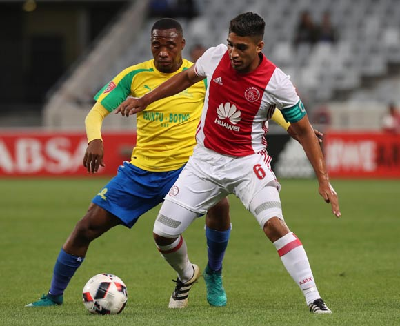 Travis Graham of Ajax Cape Town evades challenge from Sibusiso Vilakazi of Mamelodi Sundowns during the Absa Premiership 2016/17 football match between Ajax Cape Town and Mamelodi Sundowns at Cape Town Stadium, Cape Town on 30 November 2016 ©Chris Ricco/BackpagePix