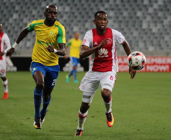 Mosa Lebusa of Ajax Cape Town gets away from Anthony Laffor of Mamelodi Sundowns during the Absa Premiership 2016/17 football match between Ajax Cape Town and Mamelodi Sundowns at Cape Town Stadium, Cape Town on 30 November 2016 ©Chris Ricco/BackpagePix