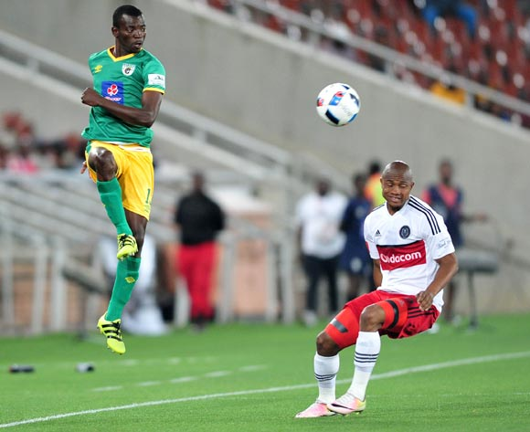 Albert Mothupa of Baroka FC challenged by Thabo Qalinge of Orlando Pirates during the Absa Premiership match between Baroka FC and Orlando Pirates at the Loftus Stadium in Pretoria on the 30 November 2016©Samuel Shivambu/Backpagepix