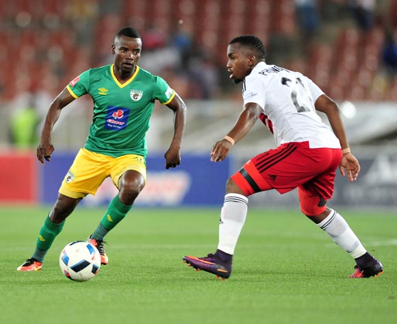 Sipho Moeti of Baroka FC challenged by Patrick Phungwayo of Orlando Pirates during the Absa Premiership match between Baroka FC and Orlando Pirates at the Loftus Stadium in Pretoria on the 30 November 2016©Samuel Shivambu/Backpagepix