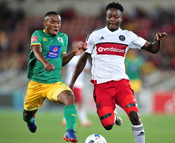 Rethabile Soso of Baroka FC tackled by Justice Chabalala of Orlando Pirates during the Absa Premiership match between Baroka FC and Orlando Pirates at the Loftus Stadium in Pretoria on the 30 November 2016©Samuel Shivambu/Backpagepix