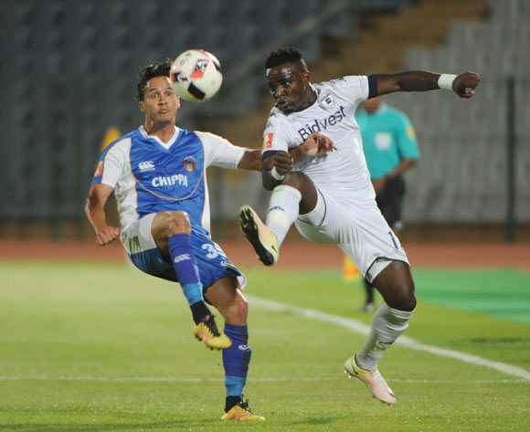 Christopher Bergman of Chippa United challenges Gabadinho Mhango of Bidvest Wits  during the Absa Premiership match between Bidvest Wits and Chippa United  01 November 2016 at Dobsonville Stadium Pic Sydney Mahlangu/ BackpagePix