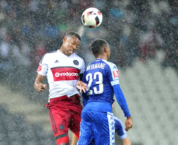 Thabo Mnyamane of Supersport United challenged by Happy Jele of Orlando Pirates during the Absa Premiership match between Supersport United and Orlando Pirates at Loftus Stadium, November on 01 November 2016 © Samuel Shivambu/BackpagePix