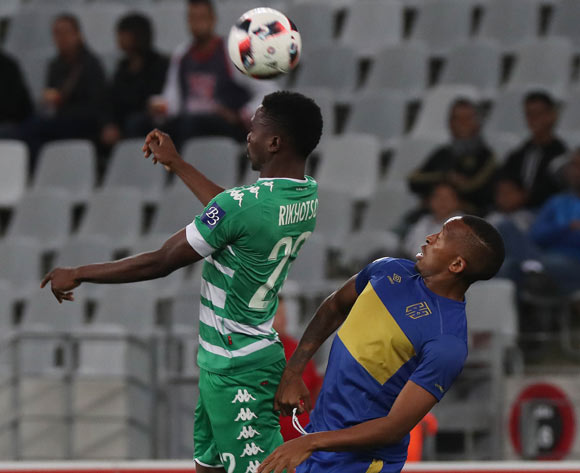 Tshepo Rikhotso of Bloemfontein Celtic battles for the ball with Lehlohonolo Majoro of Cape Town City FC during the Absa Premiership 2016/17 football match between Cape Town City FC and Bloemfontein Celtic at Cape Town Stadium, Cape Town on 2 November 2016 ©Chris Ricco/BackpagePix