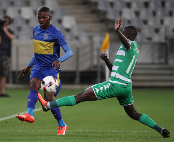Thamsanqa Mkhize of Cape Town City FC evades challenge from Deon Hotto of Bloemfontein Celtic during the Absa Premiership 2016/17 football match between Cape Town City FC and Bloemfontein Celtic at Cape Town Stadium, Cape Town on 2 November 2016 ©Chris Ricco/BackpagePix