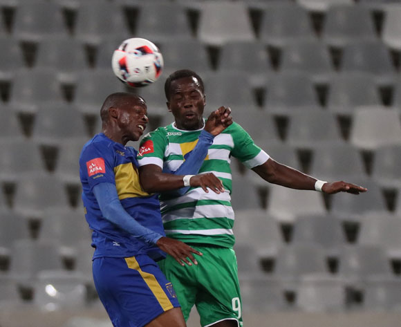Thabo Nodada of Cape Town City FC battles for the ball with Atusaye Nyondo of Bloemfontein Celtic during the Absa Premiership 2016/17 football match between Cape Town City FC and Bloemfontein Celtic at Cape Town Stadium, Cape Town on 2 November 2016 ©Chris Ricco/BackpagePix
