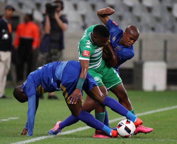 Moeketsi Mvula of Bloemfontein Celtic battles for the ball with Tshepo Gumede of Cape Town City FC and Thamsanqa Mkhize of Cape Town City FC during the Absa Premiership 2016/17 football match between Cape Town City FC and Bloemfontein Celtic at Cape Town Stadium, Cape Town on 2 November 2016 ©Chris Ricco/BackpagePix