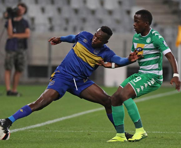 Sibusiso Masina of Cape Town City FC battles for the ball with Atusaye Nyondo of Bloemfontein Celtic during the Absa Premiership 2016/17 football match between Cape Town City FC and Bloemfontein Celtic at Cape Town Stadium, Cape Town on 2 November 2016 ©Chris Ricco/BackpagePix