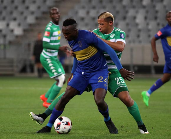 Sibusiso Masina of Cape Town City FC gets away from Cheslyn Jampies of Bloemfontein Celtic during the Absa Premiership 2016/17 football match between Cape Town City FC and Bloemfontein Celtic at Cape Town Stadium, Cape Town on 2 November 2016 ©Chris Ricco/BackpagePix
