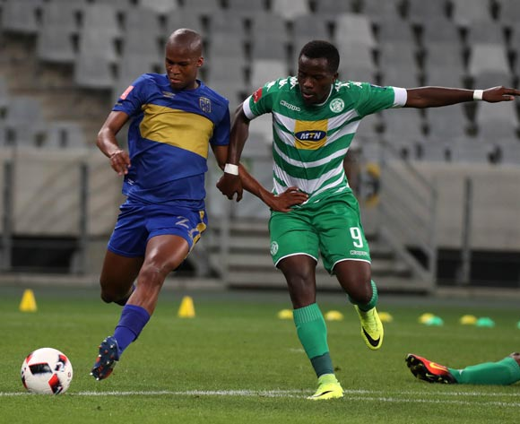 Tshepo Gumede of Cape Town City FC evades challenge from Atusaye Nyondo of Bloemfontein Celtic during the Absa Premiership 2016/17 football match between Cape Town City FC and Bloemfontein Celtic at Cape Town Stadium, Cape Town on 2 November 2016 ©Chris Ricco/BackpagePix