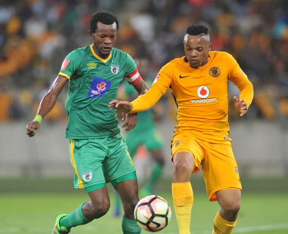 Edward Manqele of Kaizer Chiefs challenged by Dineo Shaku of Baroka FC during the Absa Premiership 2016/17 Kaizer Chiefs and Baroka FC at Moses Mabhida Stadium, Durban South Africa on 02 Nomvember 2016 ©Muzi Ntombela/BackpagePix