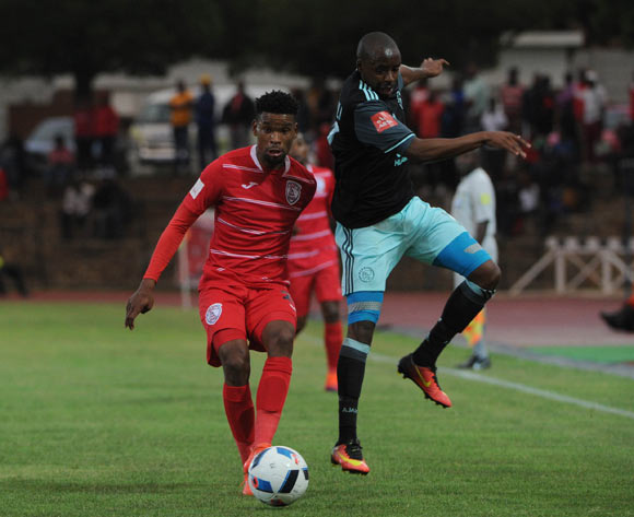 Bantu Mzwakali of Ajax Cape Town challenges Bokang Tlhone of Free State Stars  during the Absa Premiership match between Free State Stars and Ajax Cape Town  02 November 2016 at Goble Park Stadium Pic Sydney Mahlangu/ BackpagePix
