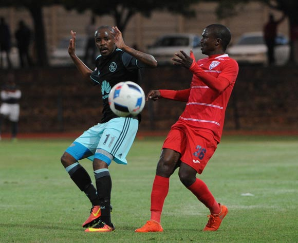 Bantu Mzwakali of Ajax Cape Town challenges Goodman Dlamini of Free State Stars  during the Absa Premiership match between Free State Stars and Ajax Cape Town  02 November 2016 at Goble Park Stadium Pic Sydney Mahlangu/ BackpagePix