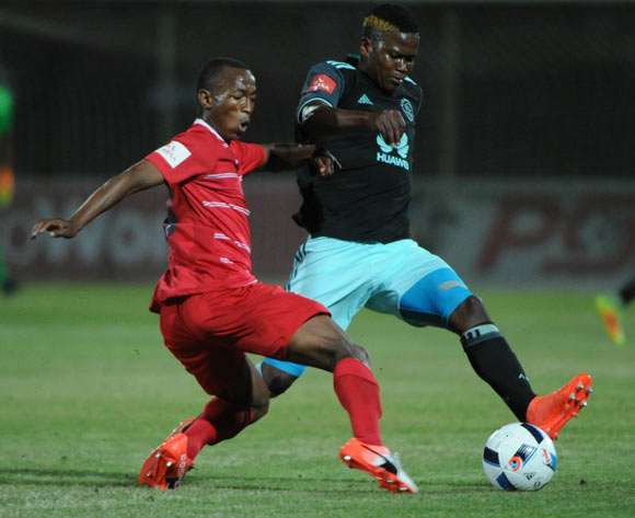 Ndiviwe Mdabuka of Ajax Cape Town challenges Sifiso Mbhele of Free State Stars  during the Absa Premiership match between Free State Stars and Ajax Cape Town  02 November 2016 at Goble Park Stadium Pic Sydney Mahlangu/ BackpagePix