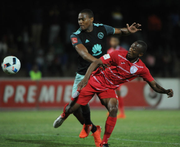 Sifiso Mbhele of Free State Stars challenges Prince Nxumalo of Ajax Cape Town during the Absa Premiership match between Free State Stars and Ajax Cape Town  02 November 2016 at Goble Park Stadium Pic Sydney Mahlangu/ BackpagePix
