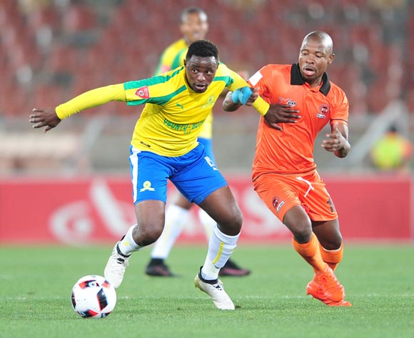 Lucky Mohomi of Supersport United challenged by Puleng Tlolane of Polokwane City during the Absa Premiership match between Polokwane City and Mamelodi Sundowns at Peter Mokab Stadium, November on the 02 November 2016 © Samuel Shivambu/BackpagePix