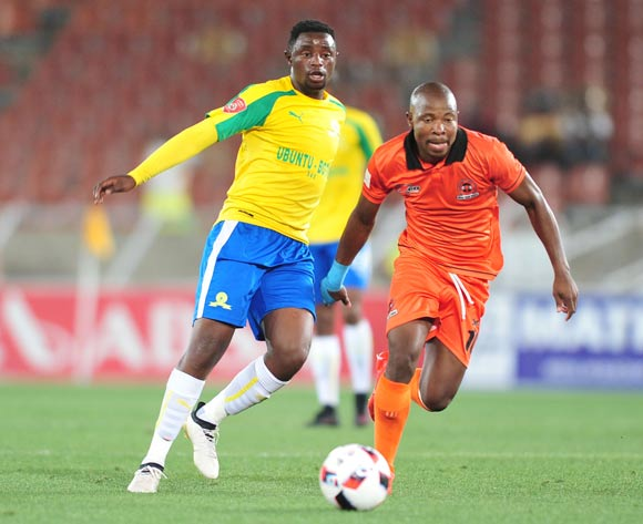Lucky Mohomi of Mamelodi Sundowns challenged by Puleng Tlolane of Polokwane City during the Absa Premiership match between Polokwane City and Mamelodi Sundowns at Peter Mokab Stadium, November on the 02 November 2016 © Samuel Shivambu/BackpagePix