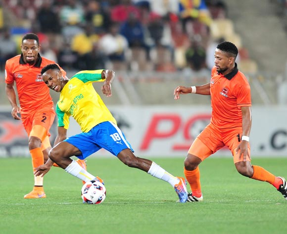 Themba Zwane (c) of Mamelodi Sundowns challenged by Edgar Manaka (r) of Polokwane City during the Absa Premiership match between Polokwane City and Mamelodi Sundowns at Peter Mokab Stadium, November on the 02 November 2016 © Samuel Shivambu/BackpagePix