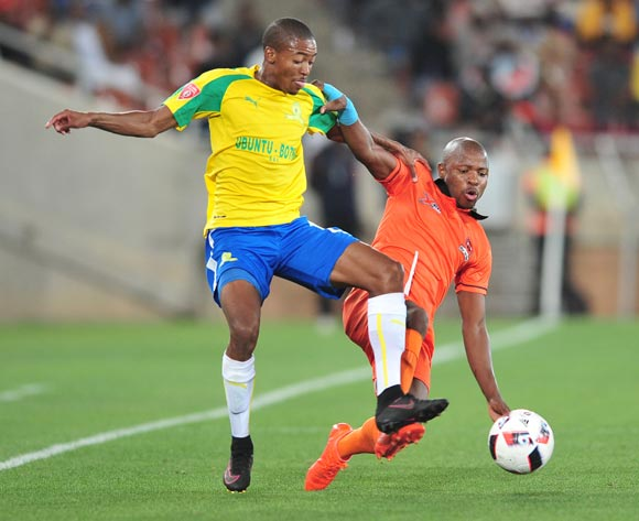 Thapelo Morena of Mamelodi Sundowns challenged by Puleng Tlolane of Polokwane City during the Absa Premiership match between Polokwane City and Mamelodi Sundowns at Peter Mokab Stadium, November on the 02 November 2016 © Samuel Shivambu/BackpagePix