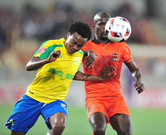 Simphiwe Hlungwane (r) of Polokwane City challenged by Percy Tau (l) of Mamelodi Sundowns during the Absa Premiership match between Polokwane City and Mamelodi Sundowns at Peter Mokab Stadium, November on the 02 November 2016 © Samuel Shivambu/BackpagePix