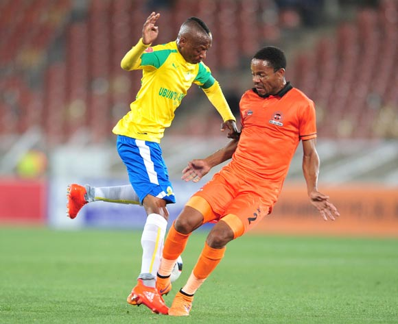 Khama Billiat of Mamelodi Sundowns challenged by Thabiso Semenya of Polokwane City during the Absa Premiership match between Polokwane City and Mamelodi Sundowns at Peter Mokab Stadium, November on the 02 November 2016 © Samuel Shivambu/BackpagePix