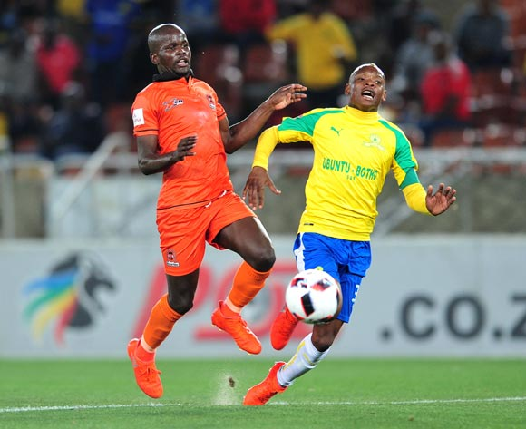 Khama Billiat of Mamelodi Sundowns challenged by Simphiwe Hlungwane of Polokwane City during the Absa Premiership match between Polokwane City and Mamelodi Sundowns at Peter Mokab Stadium, November on the 02 November 2016 © Samuel Shivambu/BackpagePix