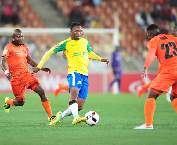 Sibusiso Vilakazi of Mamelodi Sundowns challenged by Thabang Jembula and Tshepo Tema of Polokwane City during the Absa Premiership match between Polokwane City and Mamelodi Sundowns at Peter Mokab Stadium, November on the 02 November 2016 © Samuel Shivambu/BackpagePix