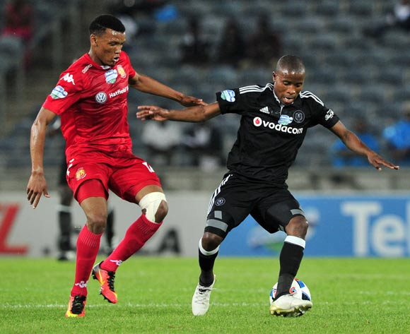 Thabo Matlaba of Orlando Pirates turns away from Mothobi Mvala of Highlands Park during the 2016 Telkom Knockout quarterfinal game between Orlando Pirates and Highlands Park at Orlando Stadium, Johannesburg on 5 November 2016 © Ryan Wilkisky/BackpagePix