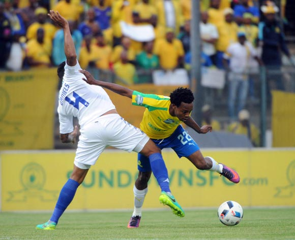 Clayton Daniels of Supersport United is challenged by Percy Tau of Mamelodi Sundowns   during the Telkom Knockout Quarter Final match between Mamelodi Sundowns and Supersport United  05 November 2016 at Lucas Moripe Stadium Pic Sydney Mahlangu/ BackpagePix