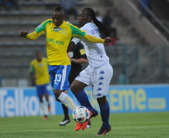 Reneilwe Letsholonyane of Supersport United  tackles Khama Billiat of Mamelodi Sundowns during the Telkom Knockout Quarter Final match between Mamelodi Sundowns and Supersport United  05 November 2016 at Lucas Moripe Stadium Pic Sydney Mahlangu/ BackpagePix