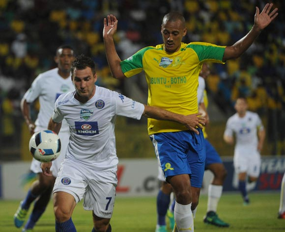 Bradley Grobler of Supersport United is challenged by Wayne Arendse of Mamelodi Sundowns   during the Telkom Knockout Quarter Final match between Mamelodi Sundowns and Supersport United  05 November 2016 at Lucas Moripe Stadium Pic Sydney Mahlangu/ BackpagePix