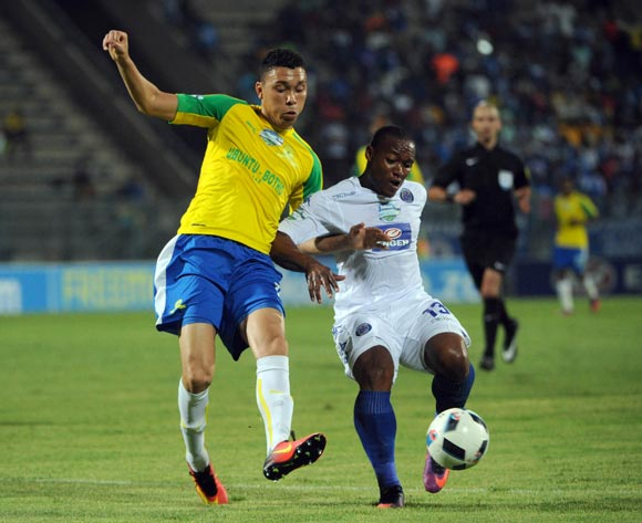Thuso Phala of Supersport United challenges Ricardo Nascimento of Mamelodi Sundowns during the Telkom Knockout Quarter Final match between Mamelodi Sundowns and Supersport United  05 November 2016 at Lucas Moripe Stadium Pic Sydney Mahlangu/ BackpagePix