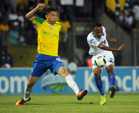 Thabo Mnyamane of Supersport United is challenged by  Ricardo Nascimento of Mamelodi Sundowns during the Telkom Knockout Quarter Final match between Mamelodi Sundowns and Supersport United  05 November 2016 at Lucas Moripe Stadium Pic Sydney Mahlangu/ BackpagePix