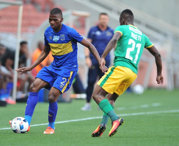 Thamsanqa Mkhize of Cape Town City challenged by Sipho Moeti of Baroka FC during 2016 Telkom Knockout match between Baroka FC and Cape Town City at Peter Mokab Stadium, November on the 05 November 2016 © Samuel Shivambu/BackpagePix