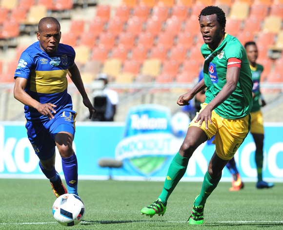Aubrey Ngoma of Cape Town City challenged by Dineo Shaku of Baroka FC during 2016 Telkom Knockout match between Baroka FC and Cape Town City at Peter Mokab Stadium, November on the 05 November 2016 © Samuel Shivambu/BackpagePix